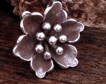 Beautiful Summer Flower Pendant - Large Fine Silver Flower Charm  -  Karen Hill Tribe   - P25