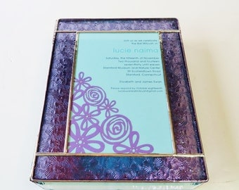 Stained Glass Keepsake Gift Box Bat Mitzvah Invitation 8x10x2 Wedding Invitation Bride Groom Photograph Custom Made-to-Order