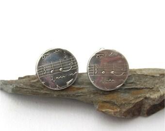 Music Cufflinks, Sterling Silver Cufflinks, Musician Cuff Links