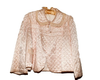 1930s Quilted Silk Bed Jacket size L
