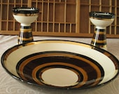 Vintage Rosenthal Netter Bowl and Candlestick Set Striped Black White and Gold Mid Century China