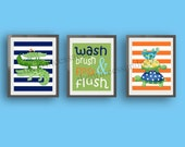 Alligator bathroom art, Children bathroom art, bathroom artwork, navy blue orange bathroom art art