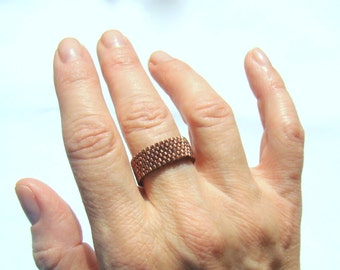Dark Copper Metallic Peyote Ring  Casual Everyday Jewelry Seed Bead Ring  Glass Beaded Ring  Brown Metallic  Gift Under 15