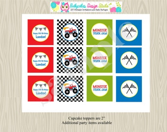 Monster Truck Birthday Party Cupcake Toppers Printable DIY Digital