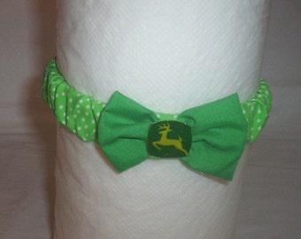 Handmade John Deere Baby Headband Green And White Polka Dot 4