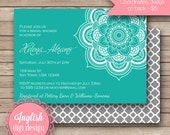 Medallion Bridal Shower Invite, Printable Medallion Bridal Shower Invitation, Medallion Shower Invitation - Bold Medallion in Teal, White