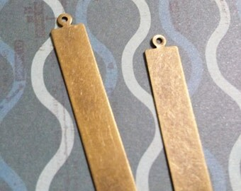 Metal Stamping Blanks Antiqued Bronze Blank Charms Pendants Metal Rectangle Tag Blanks 5 pieces 41mm