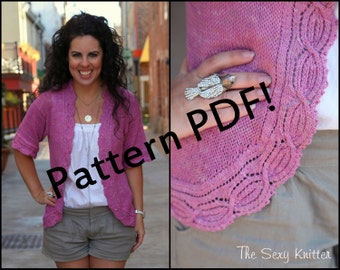 Worth Avenue Cardigan: Lace Sweater PDF Knitting Pattern by The Sexy Knitter