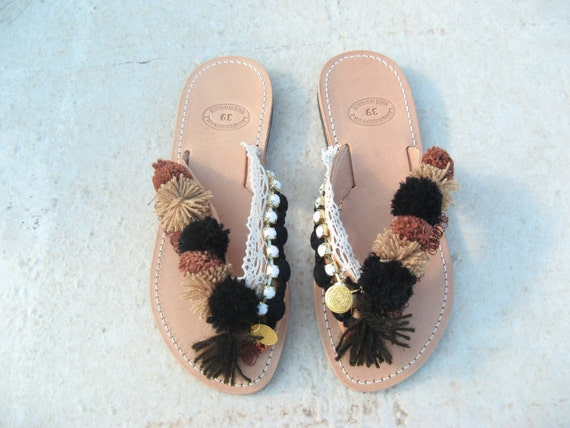 Leather sandals! Boho sandals, Many colours! Bohemian flip flops/Boho slides