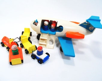 Air Plane Toy with Passengers and Service Vehicles by Fisher Price Vintage 70s