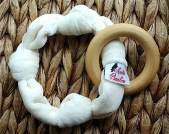 Organic Teether for Baby, Organic Bamboo Velour Wooden Teething Ring