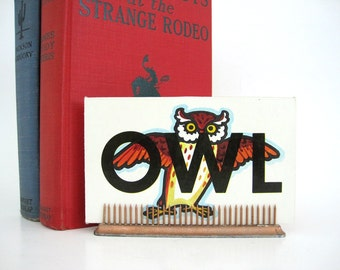 Vintage Owl Picture Word Was Tile Flash Cards Craft Altered Art Supply Childrens Shelf Decor Home School