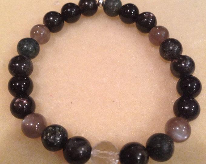 Waning Moon Arfvedsonite, Astrophyllite, Hypersthene, Black Moonstone, Black Tourmaline, Quartz 8mm Bead Bracelet with Sterling Silver