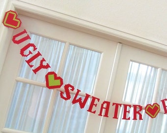 Ugly Sweater Party Banner. Tacky Sweater Party.  Holidays.  Hostess Gift.  White Elephant.  5280 Bliss.  #EtsyGifts