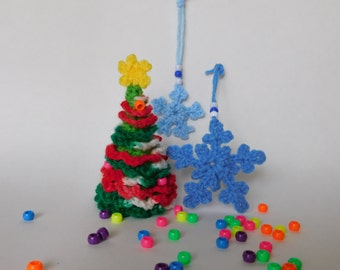 PDF Instant Download Easy Crochet Pattern No 127 Christmas Crochet Tree and Snowflakes ornaments home decor applique
