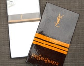 NIB Vtg Set of 3 Yves Saint Laurent Men's Fine Monogrammed Letter S-Woven White Cotton Handkerchiefs