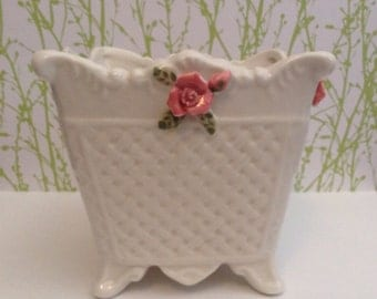 Vintage Bloom Rite White Footed Planter, With Pink Roses, Signed