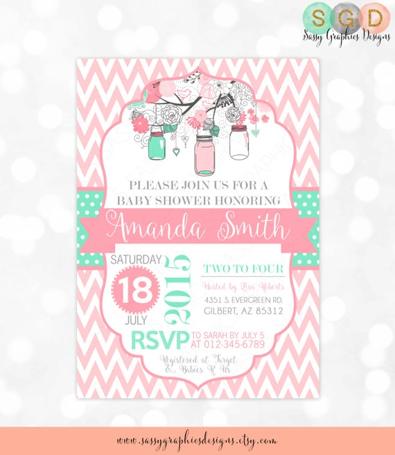 Mason jars baby shower invitation baby girl pink mint gray floral il570xn filmwisefo