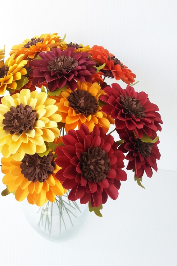 Paper Flowers - Sunflowers  - Weddings - Birthdays - Special Events - Mix Colors - Set of 12 - Made To Order