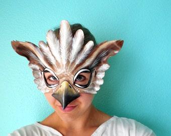 Owl Mask - Owl Halloween Mask - Animal Mask - Leather Mask - Eagle - Halloween Costume - Hawk - Halloween - Woodland - Mask