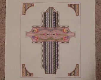Celtic Tara Cross Cross-Stitched Picture