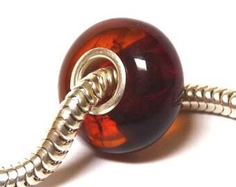 Baltic Amber Charm Bead Dark Cognac Natural Silver Core