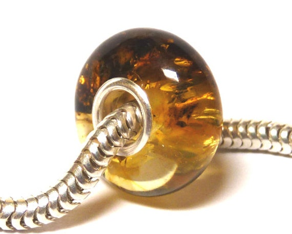 Baltic Amber Charm Bead green with inclusions for charm bracelet