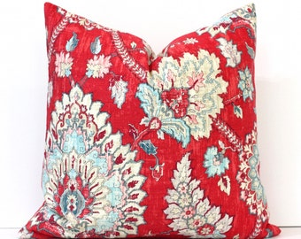 Strawberry Red Floral Decorative Designer Pillow Cover Accent blossoms chinoiserie ivory light blue robins egg modern aqua teal jacobean