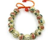 12mm Hand Crafted Callgraphy Word Flower Leaf Porcelain Beads Bracelet  T2142