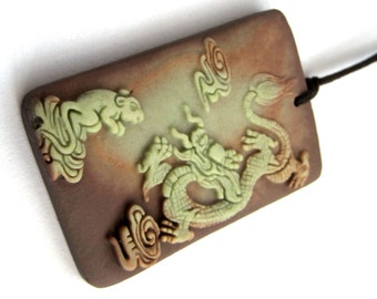 Two Layer Natural Stone Fortune Dragon Rat Pendant Amulet 45mm*30mm  ZP081
