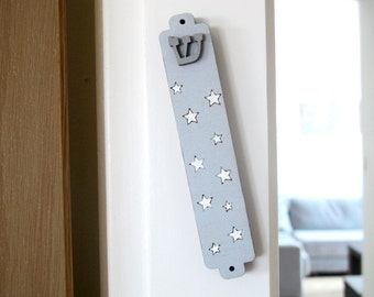 Children mezuzah case,  stars grey and white mezuzah case, nursery mezuzah, jewish mezuzah, jewish unique gift