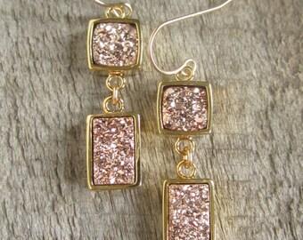 Geometric Rose Gold Druzy Earrings, Rose Gold Drusy Earrings, Druzy Quartz Jewelry, Rose Gold Earrings, Long Linear Statement Earrings