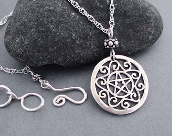 Sterling Silver Pentacle Necklace Wiccan Jewelry Pentagram Pendant Sterling Silver Chain Necklace Handmade Artisan Equinox Solstice Jewelry