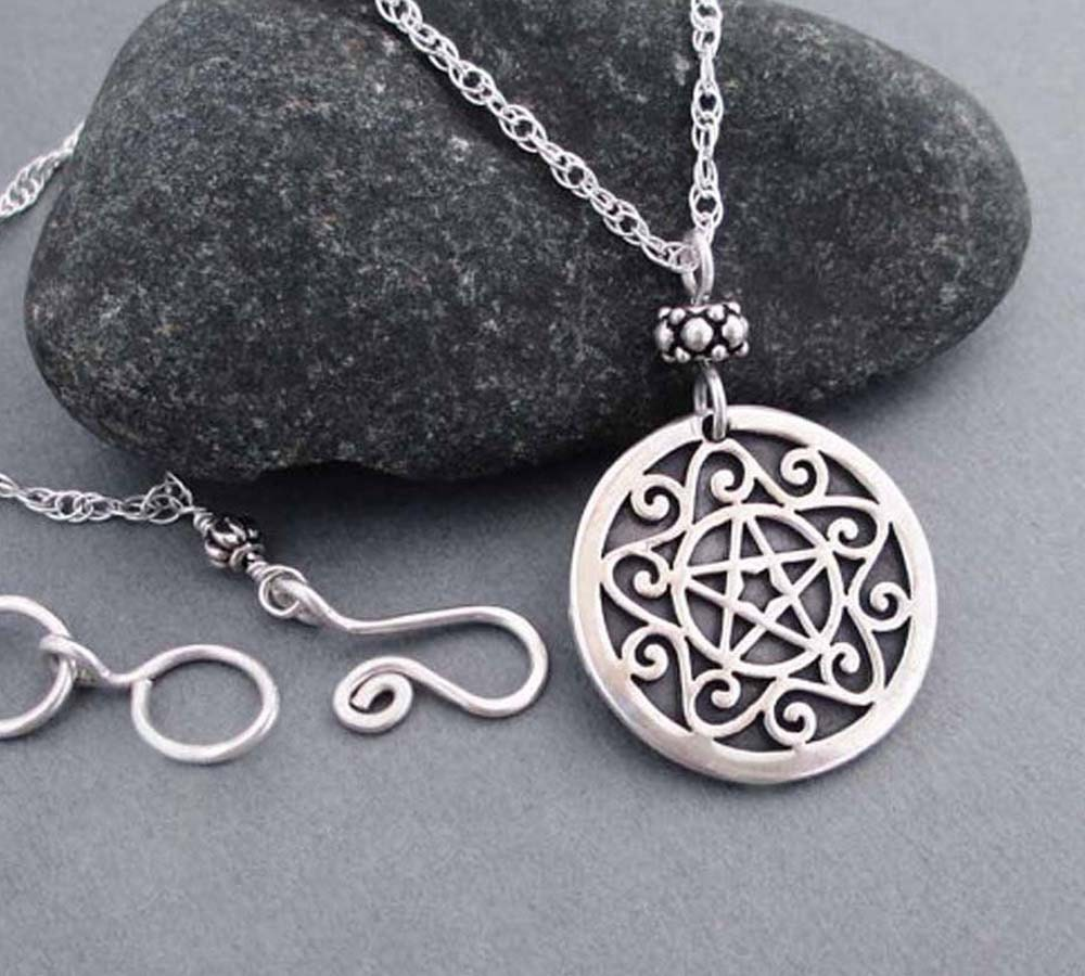 pentagrams jewelry sterling silver pentacle necklace wiccan jewelry pentagram 1800