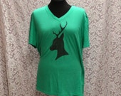 Upcycled Vibrant Green V-Neck Stenciled Original Deer Silhouette Cameo Size XL