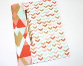 Composition Notebook / Journal Cover - Soft Broken Chevron in Mint, Coral, Peach, Metallic Gold Triangles
