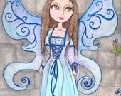 Watercolor, fantasy art print, baby blues, faerie artwork