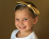Boutique Baby Top Knot Baby Lycra black white and Gold  Top knot Headband Lycra Headband Turban Headband Twisted Knot Headband