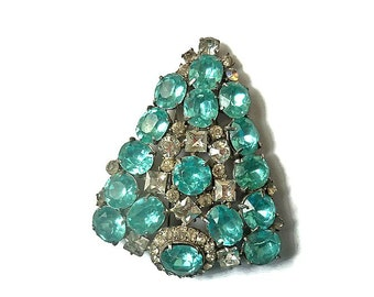 Vintage Aqua Blue and Clear Rhinestones Coat Pin Brooch 1940s