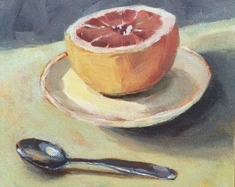 Grapefruit Breakfast - 8x8 ORIGINAL Acrylic Still Life Painting