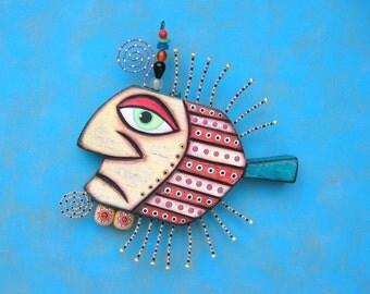 Gangster Fish VI, Original Found Object Wall Sculpture, Wood Carving, Wall Decor, Animal Sculpture, Figure Sculpture  by Fig Jam Studio
