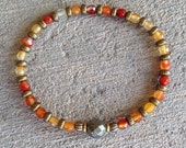 "Carnelian and Pyrite fine faceted ""Stability and Confidence"" bracelet, healing gemstone bracelet, yoga, om"