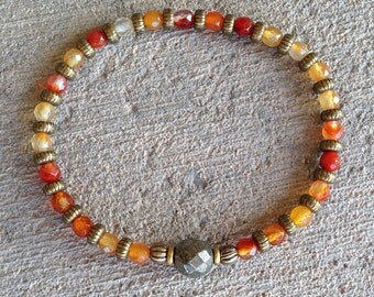 """Carnelian and Pyrite fine faceted """"Stability and Confidence"""" bracelet, healing gemstone bracelet, yoga, om"""