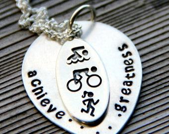 Triathlon Necklace, Triathlon Jewelry, Triathlon Gifts, Gift For Triathlete, Marathon Necklace, Accomplishment, Runner, Achieve Greatness