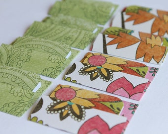 Mini Cards n Envelopes - Set of 8 - Bright Orange and Pink Flowers with Green Paisley Designs