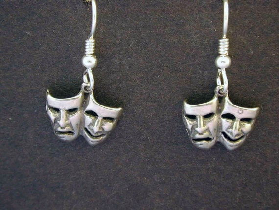 Sterling Silver Happy Sad Comedy Tragedy Earrings on Heavy Sterling Silver French Wires