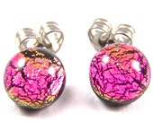 "Tiny Dichroic Stud Post Earrings - 1/4"" 7mm - Bright Pink Magenta Fuchsia Fused Glass Dichro Dot Studs"