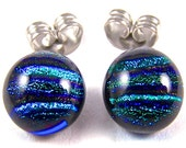 "Tiny Dichroic Studs - Post Stud Earrings - 1/4"" - Emerald Green Jade Teal Reed Striped Dicro 10mm"