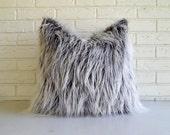 Gray Faux Fur Pillow Cover - Frosty Grey Mongolian Fur Throw Vegan - Rustic Fur Pillow