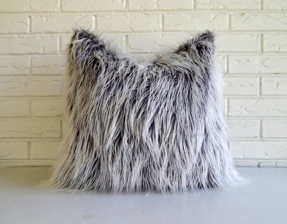 Gray Faux Fur Pillow Cover Frosty Grey Mongolian Fur Throw